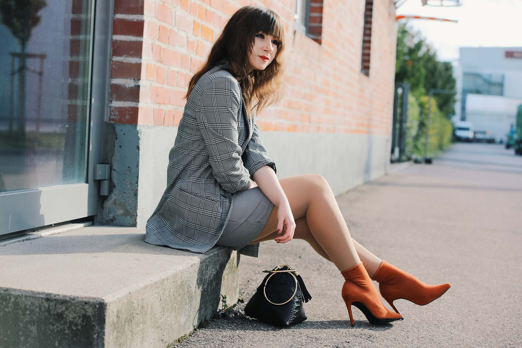 Glencheck-Karo-Blazer-plus-Sockboots|Fashion Blog Deutschland