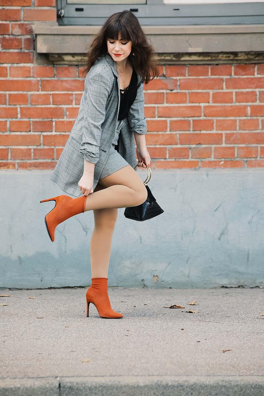 Glencheck-Karo-Blazer-plus-Sockboots|Fashion Blog Deutschland