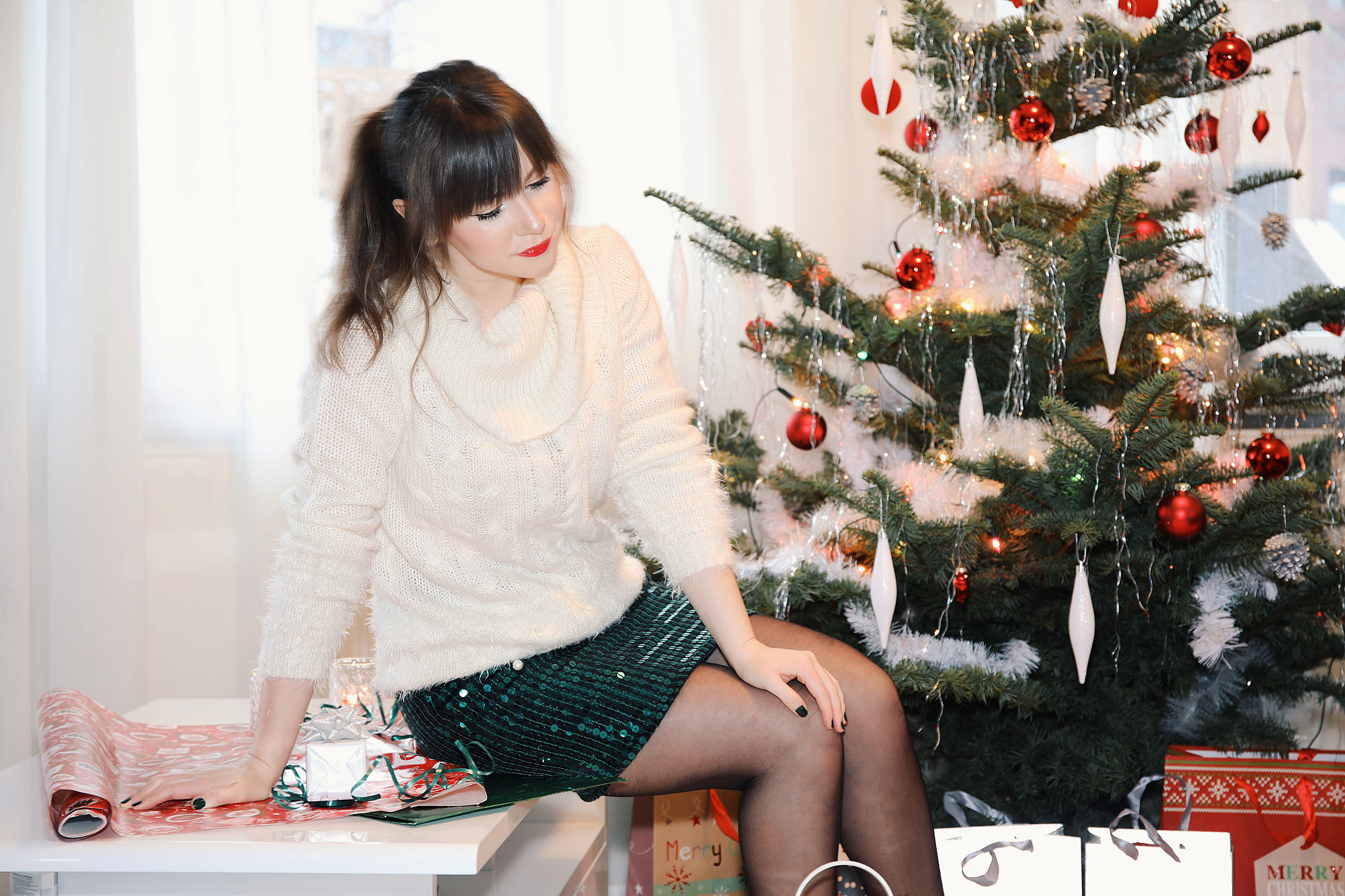 Fashion Adventskalender NO. 18 : Pailletten Rock & Zopfmuster Pullover